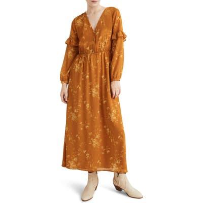 Madewell Tonal Botanical Ruffle Sleeve Button Front Dress, Yellow