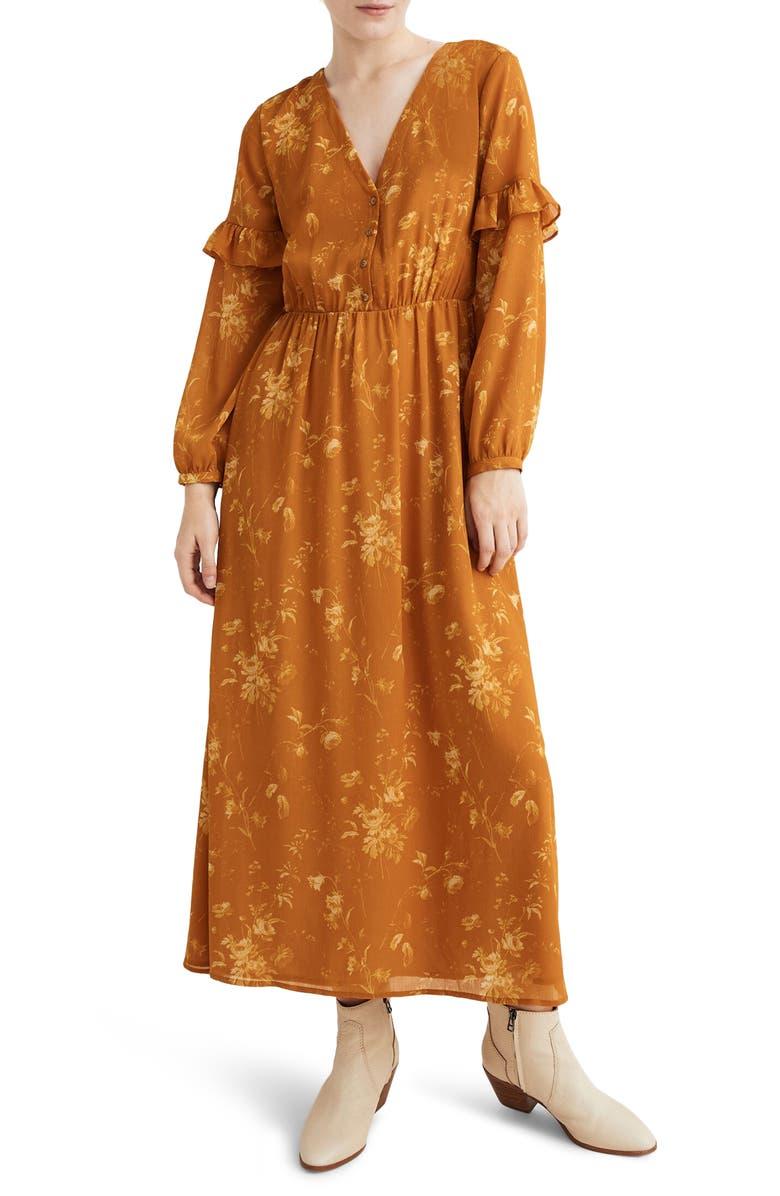 MADEWELL Tonal Botanical Ruffle Sleeve Button Front Dress, Main, color, TONAL BOTANICAL RICH AMBER
