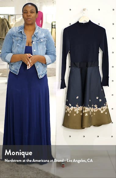 Pearl Mixed Media Long Sleeve Fit & Flare Dress, sales video thumbnail