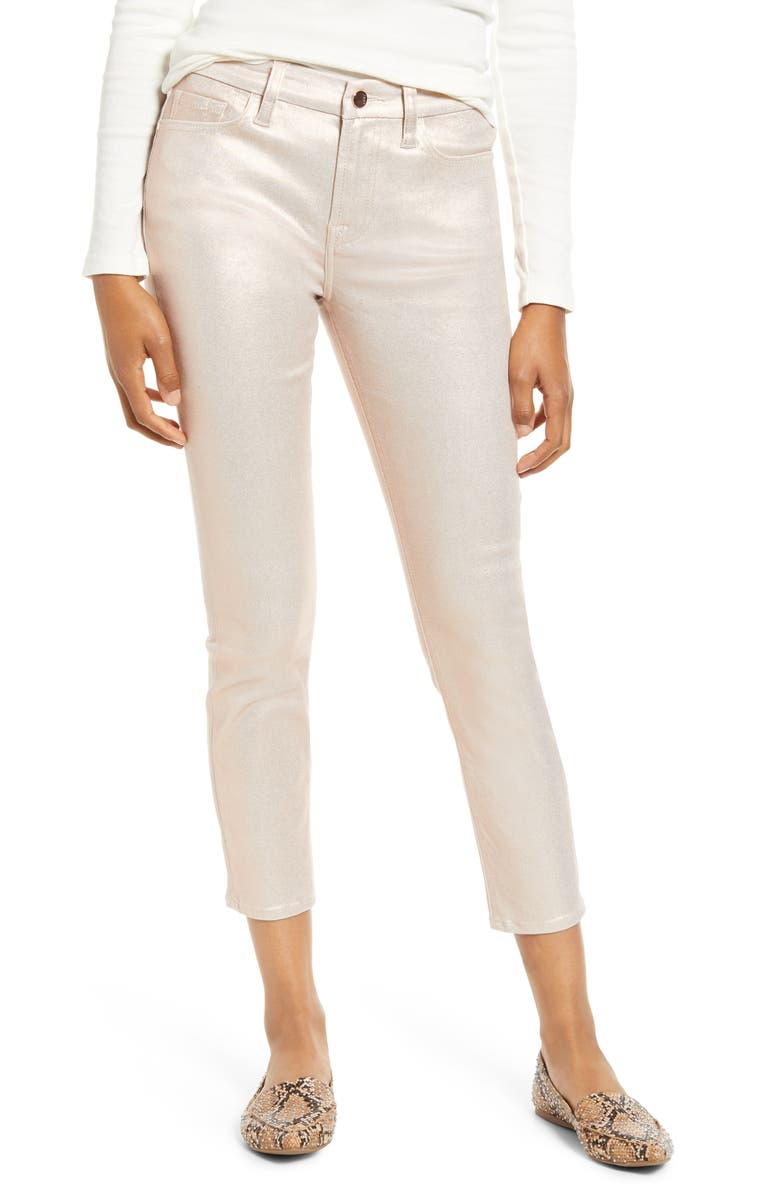 JEN7 BY 7 FOR ALL MANKIND High Waist Metallic Coated Ankle Skinny Jeans, Main, color, ROSE GOLD