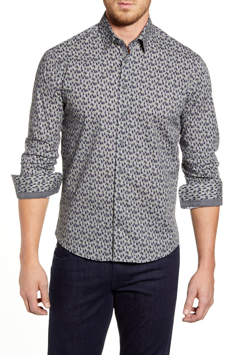 STONE ROSE Regular Fit Tree Print Button-Up Sport Shirt, Main, color, OLIVE