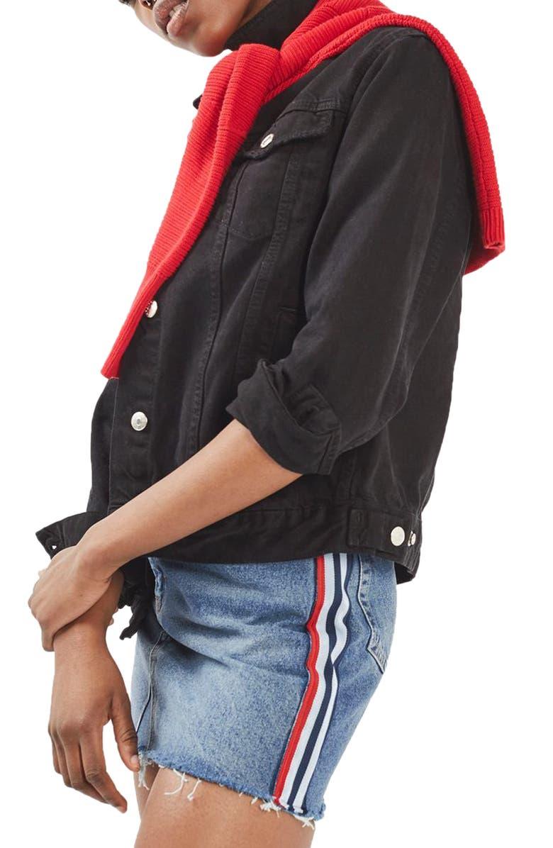 TOPSHOP Stripe Side Denim Miniskirt, Main, color, 400