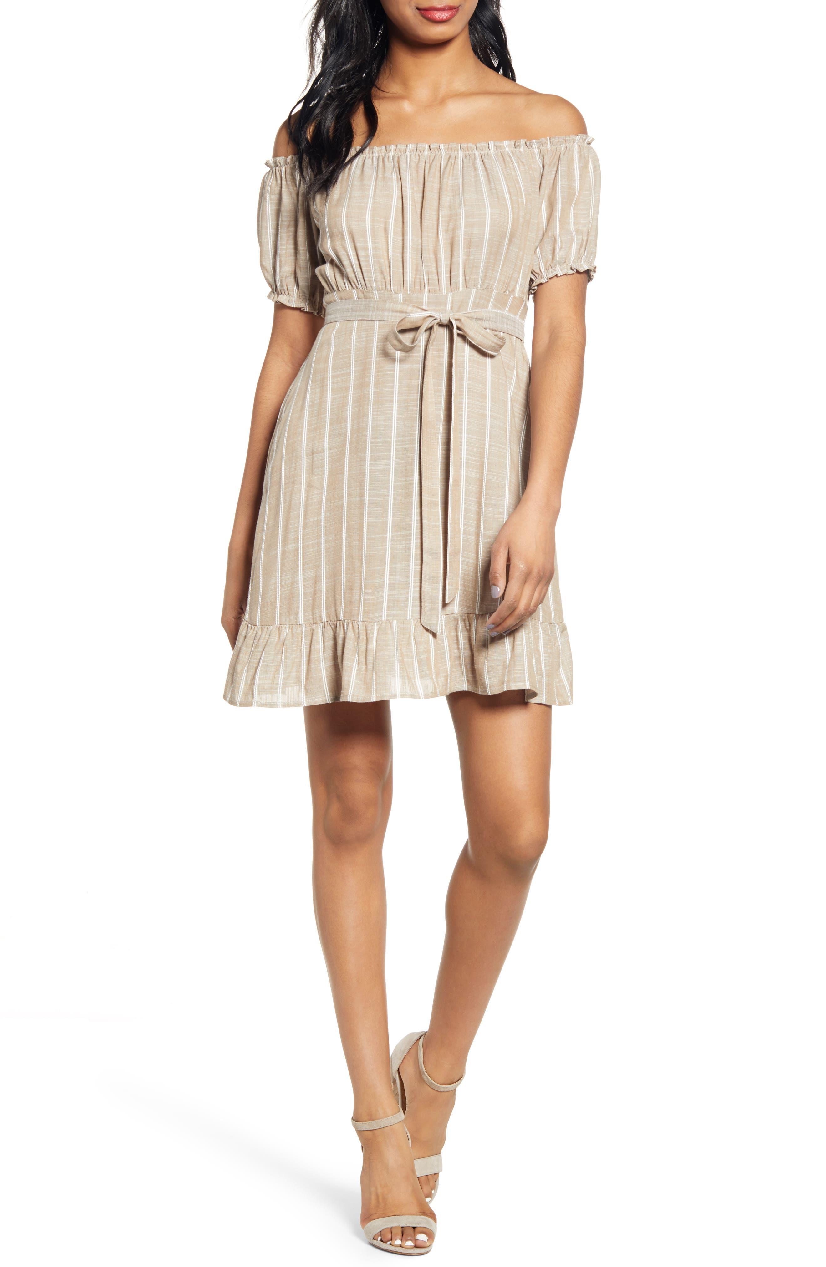 Speechless Stripe Off The Shoulder Minidress, Beige