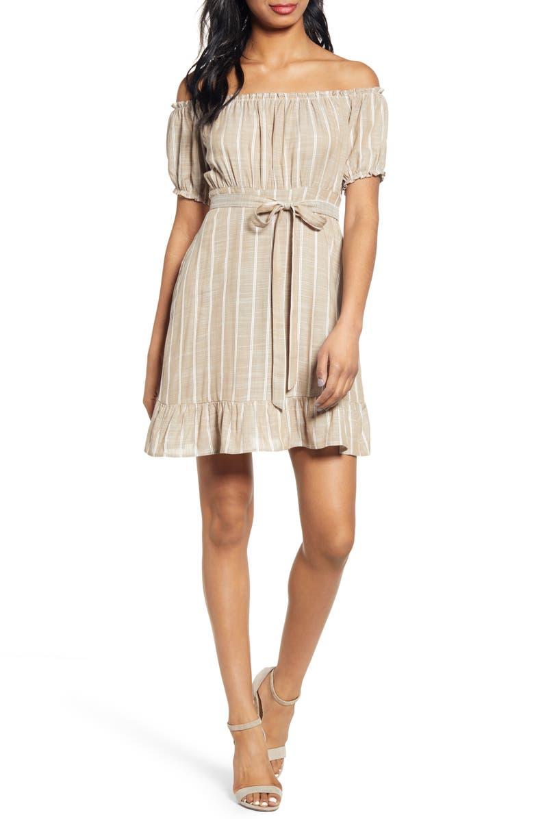 SPEECHLESS Stripe Off the Shoulder Minidress, Main, color, ALMOND IVORY