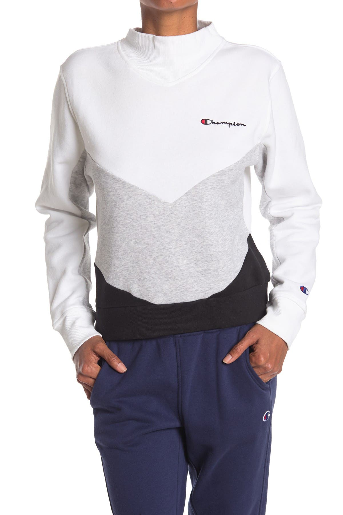 Image of Champion Campus Chevron Stripe Mock Neck Pullover