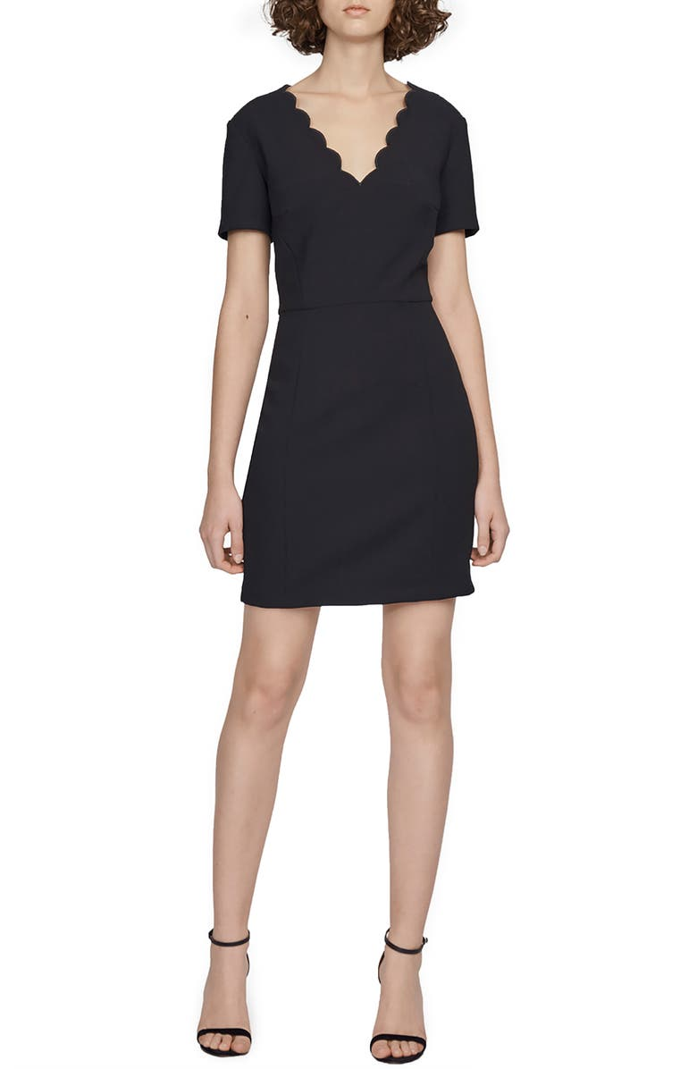 FRENCH CONNECTION Lula Scallop Detail Minidress, Main, color, BLACK