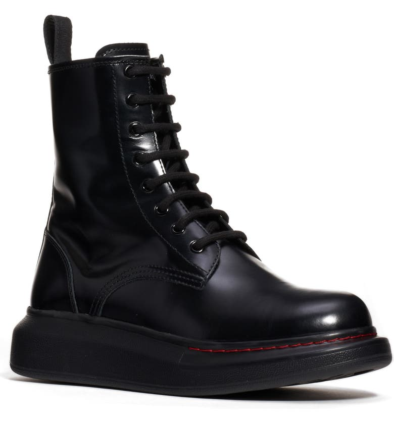 ALEXANDER MCQUEEN Platform Combat Boot, Main, color, BLACK