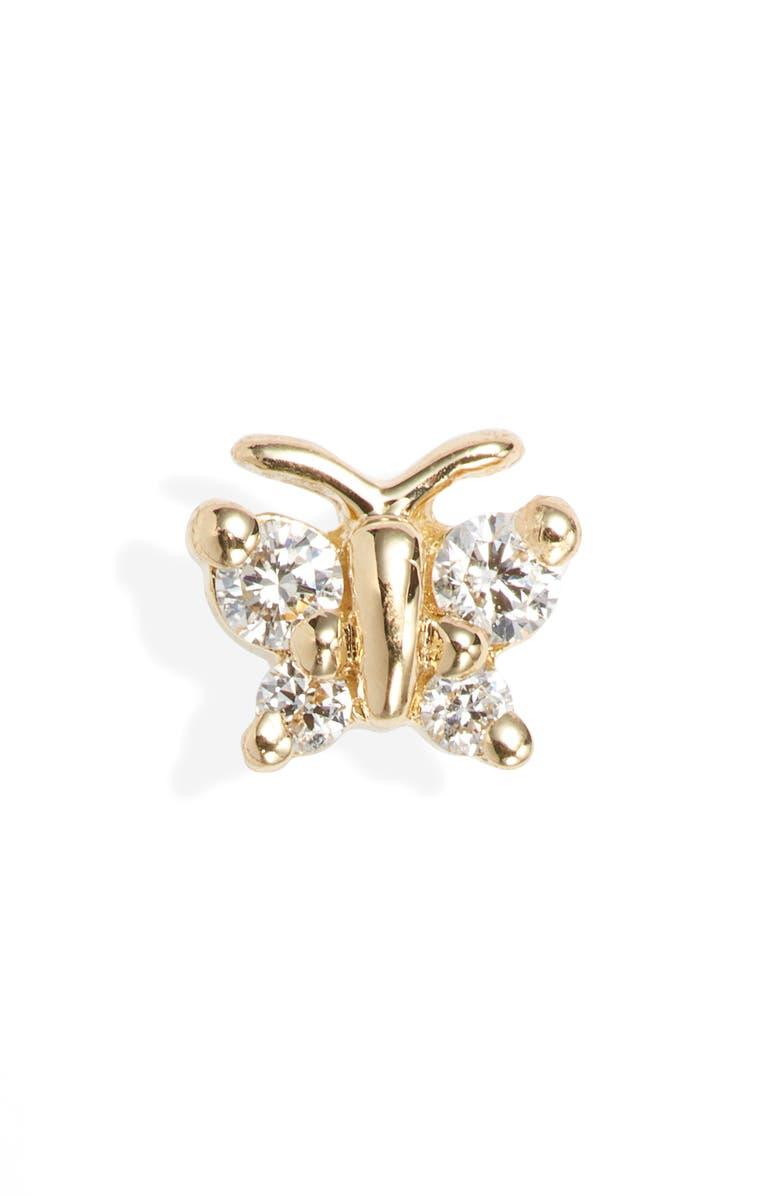 MARIA TASH Diamond Butterfly Stud Earring, Main, color, YELLOW GOLD/ DIAMOND