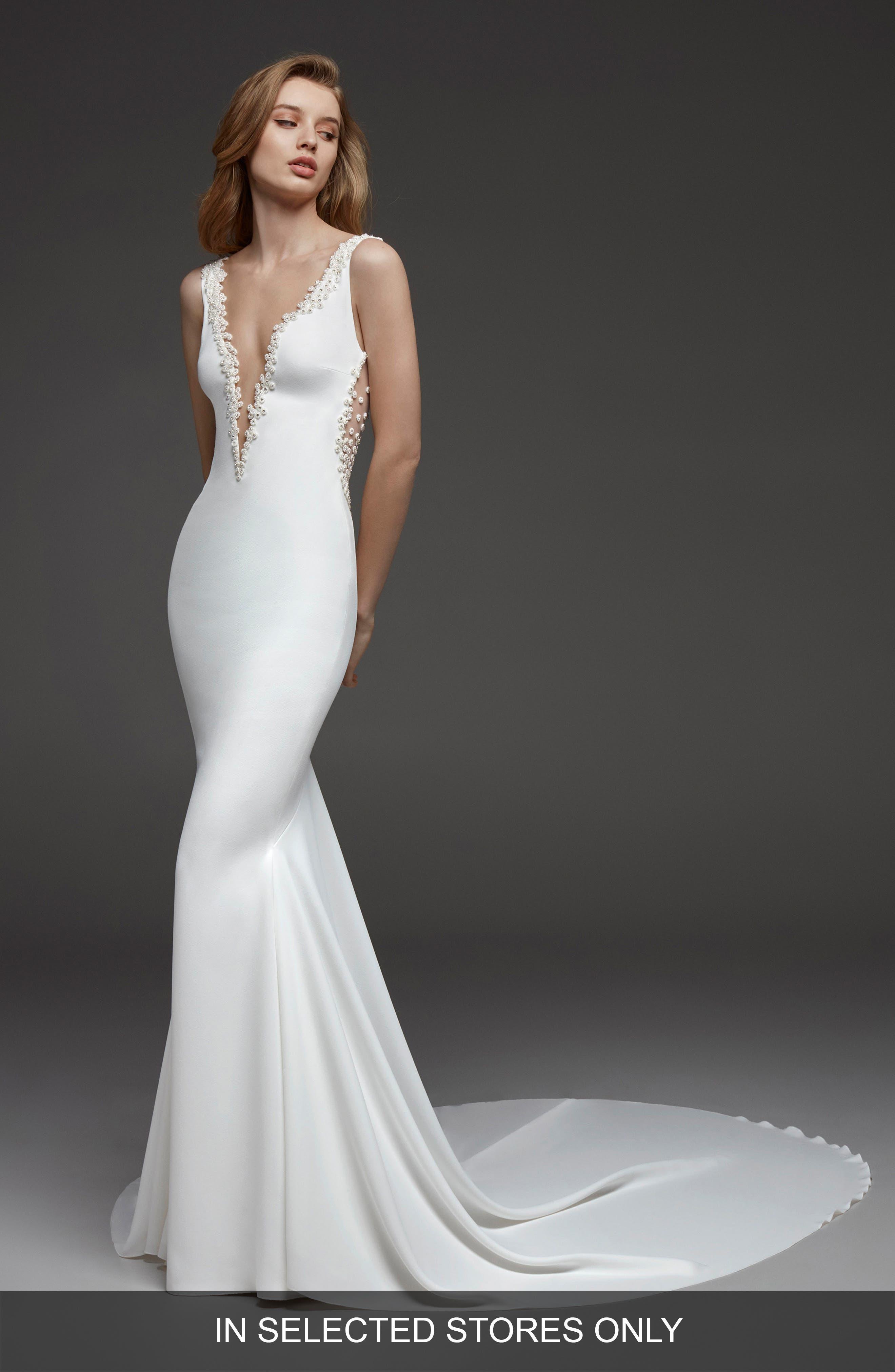 Atelier Pronovias Claudine Bead Embellished Crepe Mermaid Gown, Size - Ivory