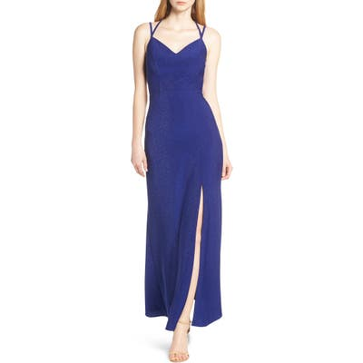 Morgan & Co. Strappy Glitter Knit Evening Dress, Blue