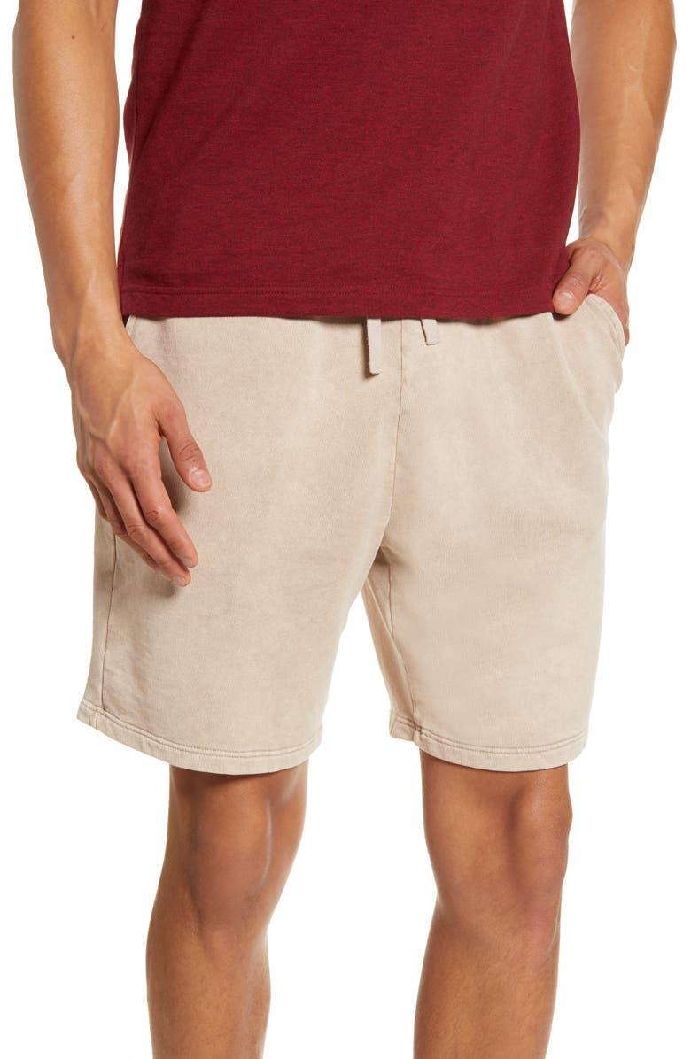 TOPMAN Knit Drawstring Shorts, Main, color, BROWN