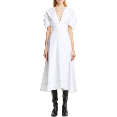 Proenza Schouler Ruched Waist Puff Sleeve Midi Dress, White