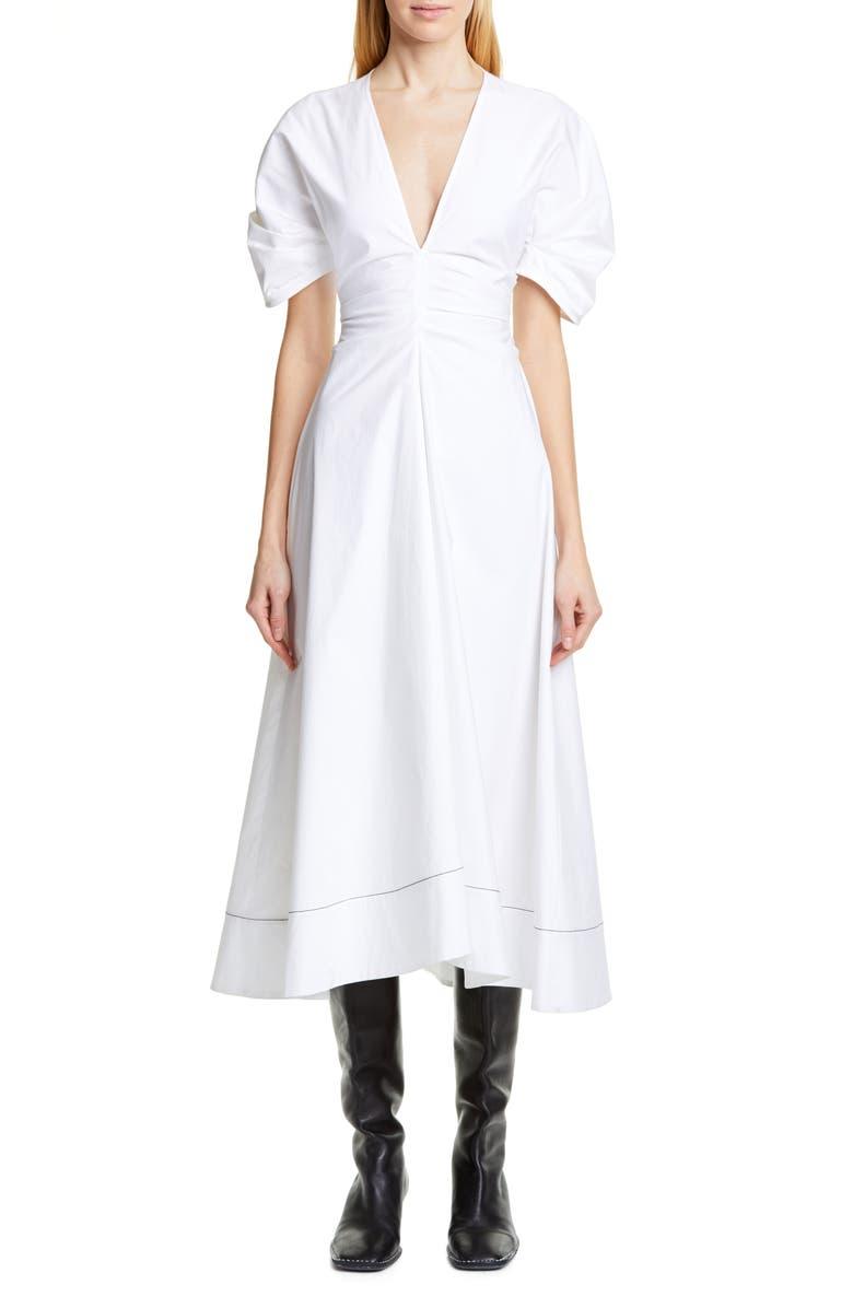 PROENZA SCHOULER Ruched Waist Puff Sleeve Midi Dress, Main, color, 100