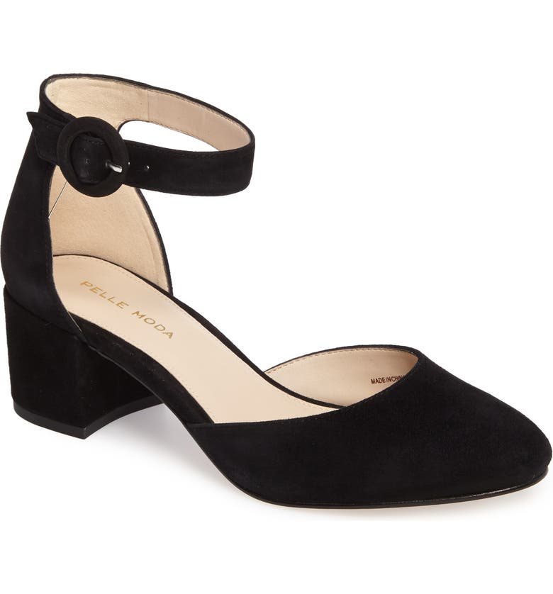PELLE MODA Uma d'Orsay Pump, Main, color, BLACK LEATHER