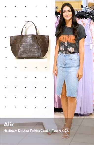 Violet Croc Embossed Leather Tote, sales video thumbnail