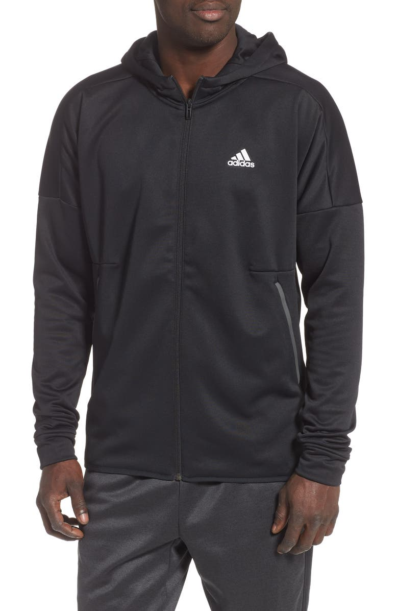 ADIDAS Hooded Track Jacket, Main, color, 001