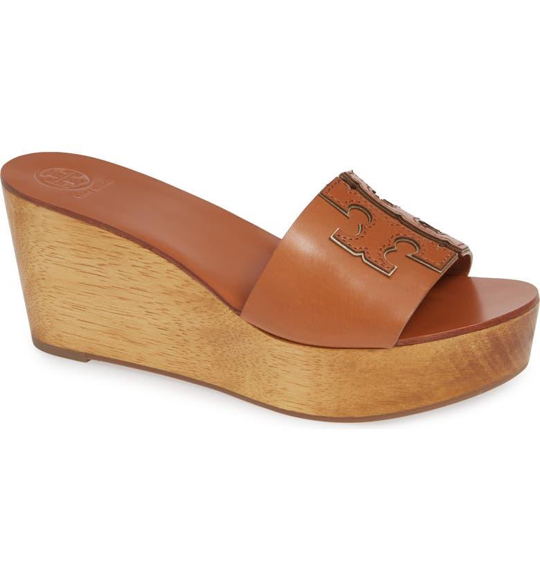 TORY BURCH Ines Wedge Slide Sandal, Main, color, TAN / SPARK GOLD