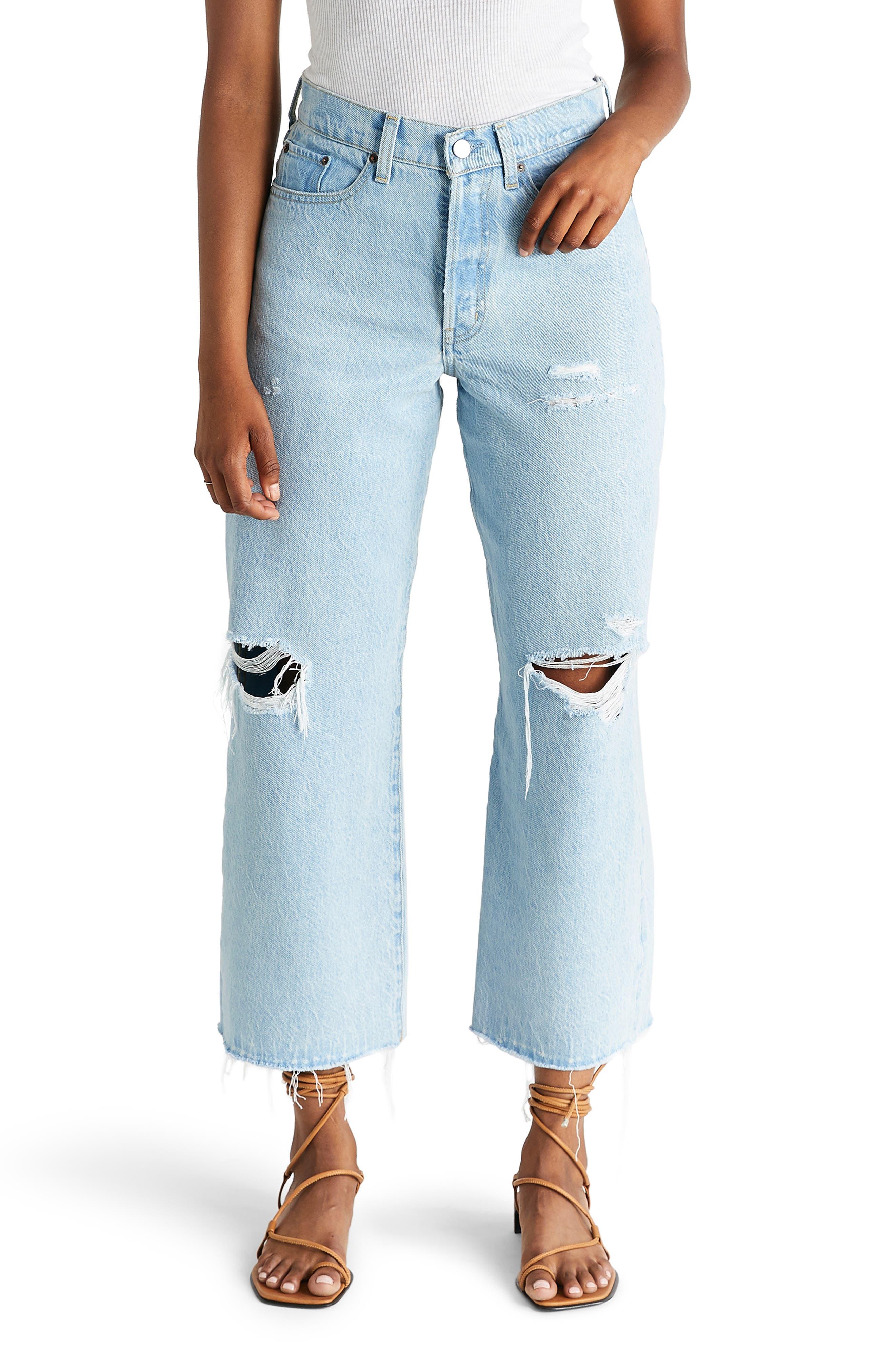 Women's Etica Devon Ripped High Waist Crop Wide Leg Jeans