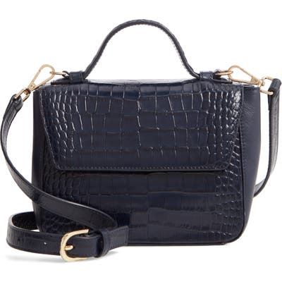 Nordstrom Mini Ryder Croc Embossed Leather Top Handle Bag - Blue