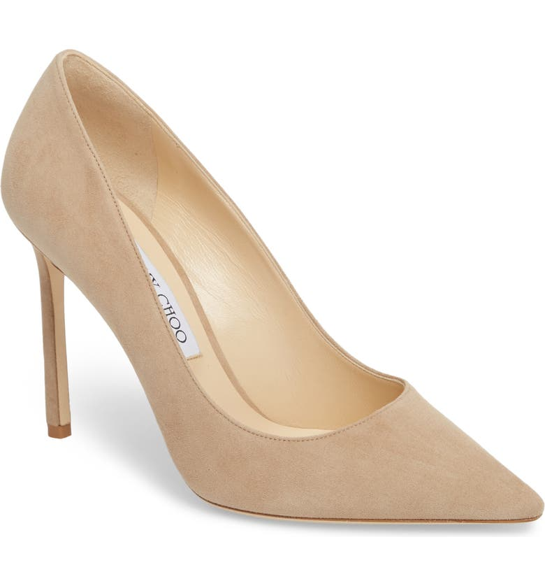 JIMMY CHOO Romy 100 Pointy Toe Pump, Main, color, NUDE SUEDE