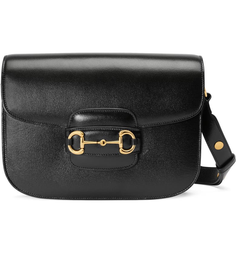 GUCCI Small 1955 Horsebit Leather Shoulder Bag, Main, color, NERO