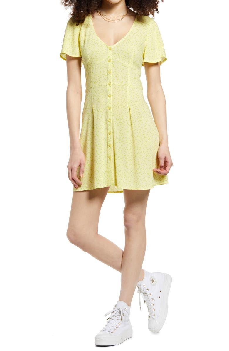 BP. Print Flutter Sleeve Skater Dress, Main, color, YELLOW TERESE DITSY