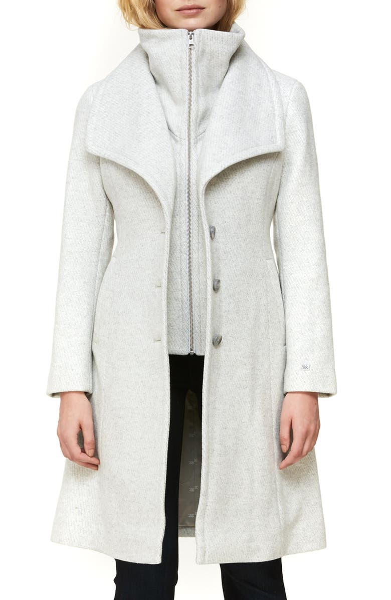 SOIA & KYO Kikky Inset Bib Wool Blend Coat, Main, color, SILVERASH