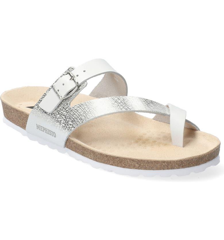 MEPHISTO Nalia Slide Sandal, Main, color, WHITE LEATHER