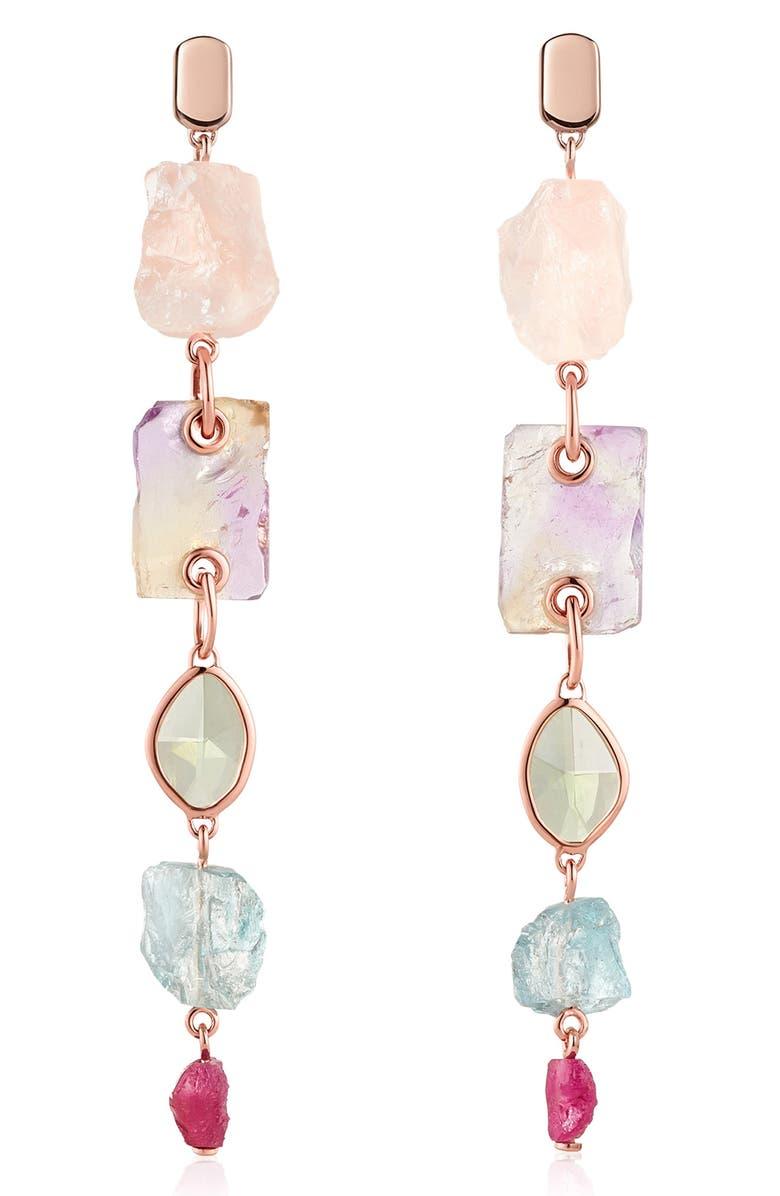 MONICA VINADER x Caroline Issa Gemstone Cocktail Earrings, Main, color, ROSE GOLD