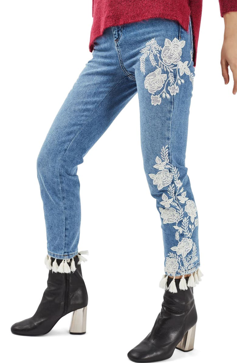 TOPSHOP Moto Floral Embroidered Straight Leg Jeans, Main, color, 400