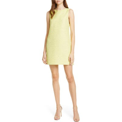 Alice + Olivia Aline Tweed Shift Dress, Yellow