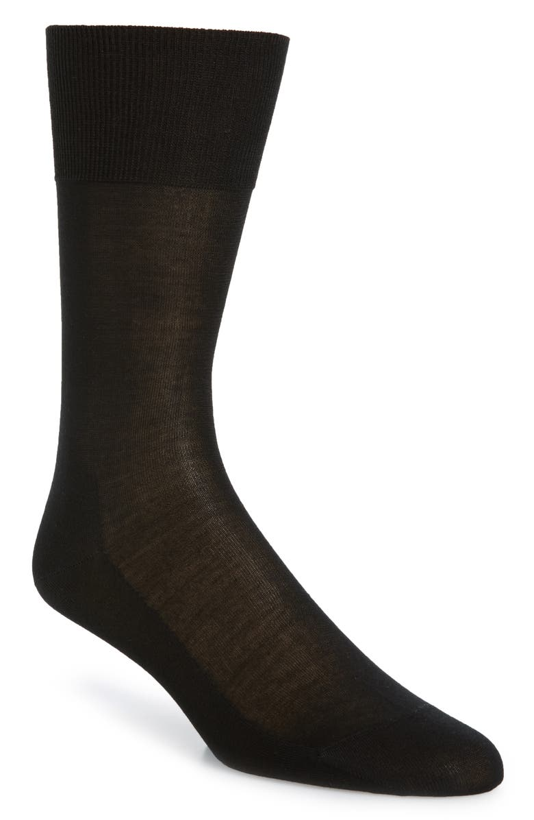 FALKE No. 4 Silk Blend Socks, Main, color, BLACK
