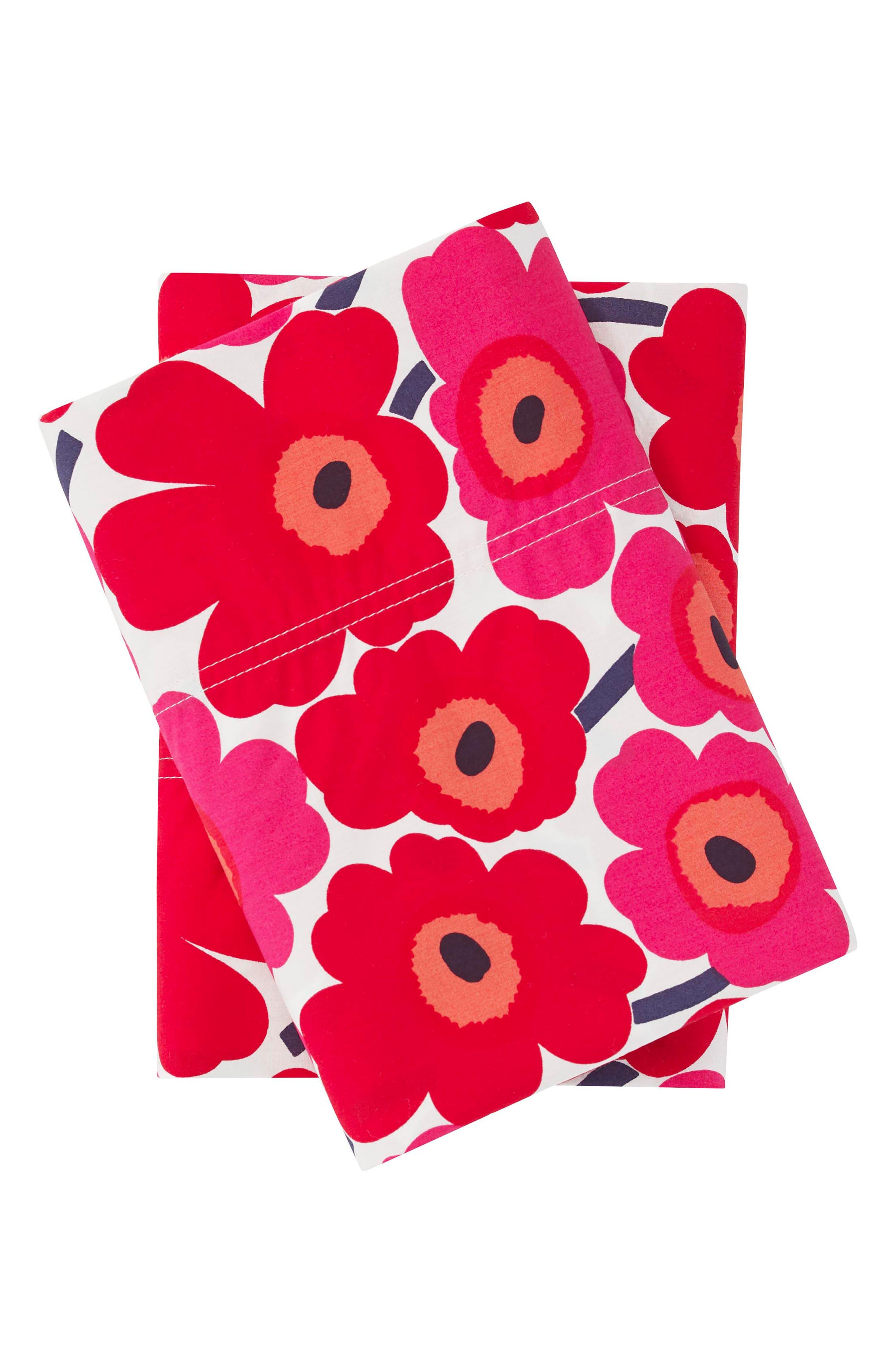 ,                             Mini Unikko Dark Red Pillowcases,                             Main thumbnail 1, color,                             DARK RED