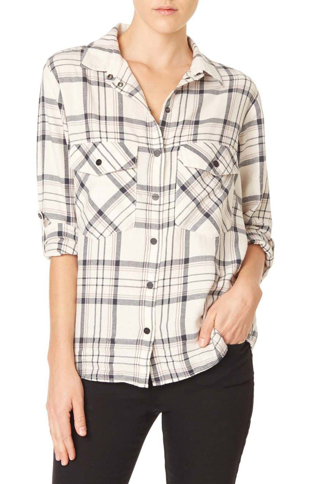 ,                             Plaid Flannel Boyfriend Shirt,                             Main thumbnail 5, color,                             196