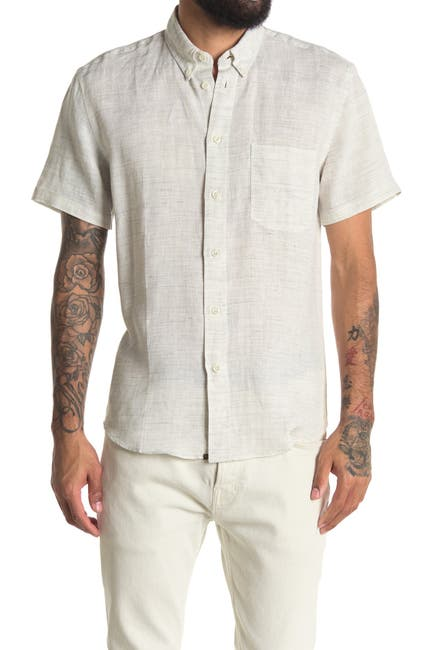 Image of Billy Reid Tuscumbia Short Sleeve Linen Button-Down Shirt
