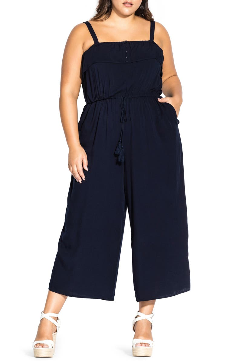 CITY CHIC Cute Button Wide-Leg Jumpsuit, Main, color, NAVY