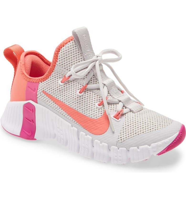 NIKE Free Metcon 3 Training Shoe, Main, color, VAST GREY/ MAGIC EMBER/ WHITE