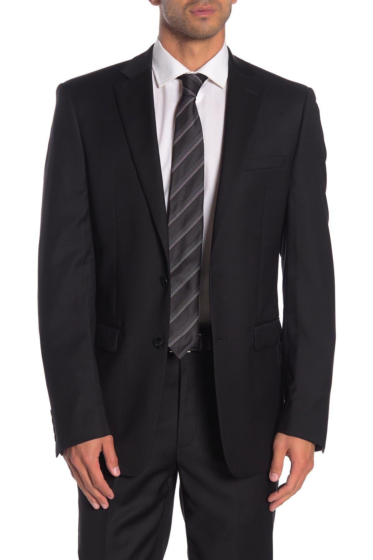 Image of Calvin Klein Solid Black Suit Suit Separates Jacket