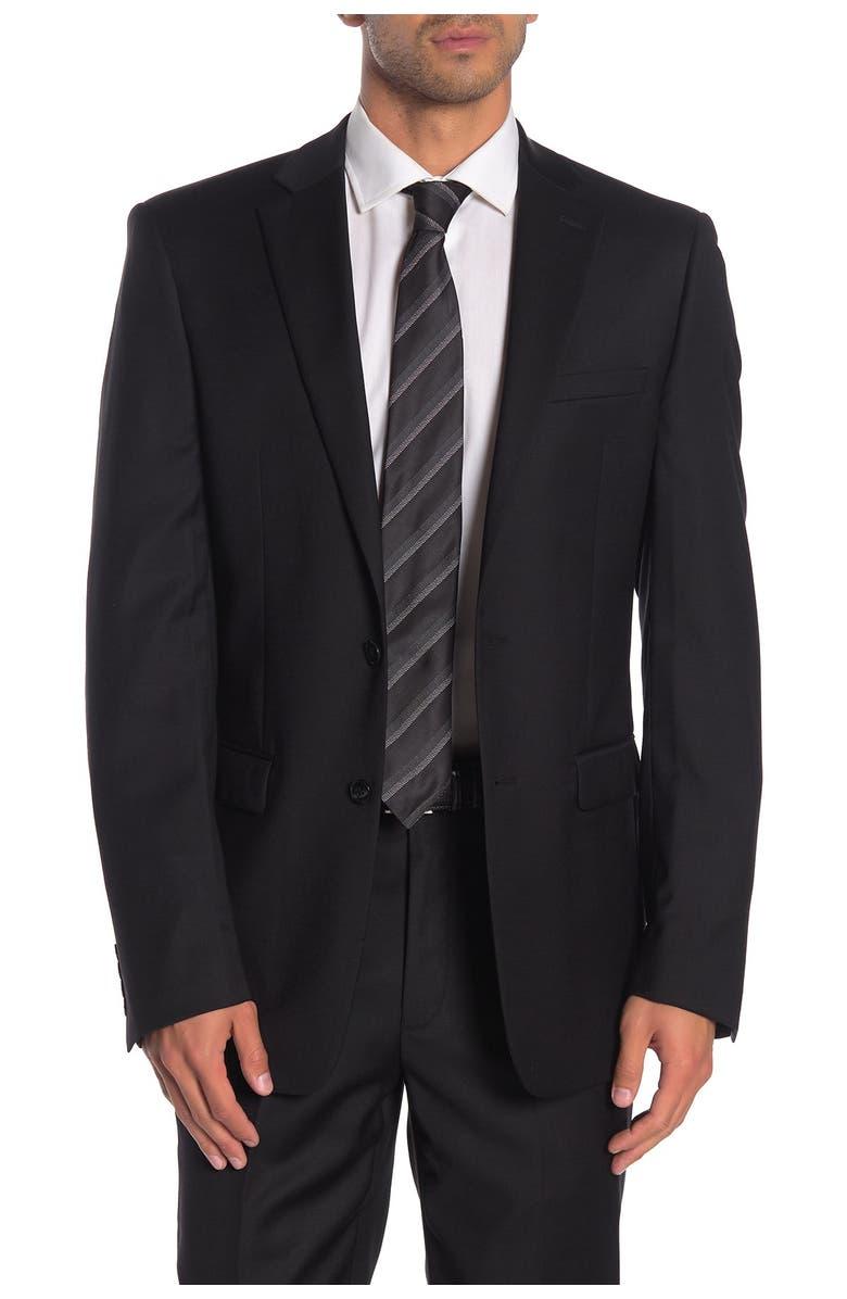 CALVIN KLEIN Solid Black Suit Suit Separates Jacket, Main, color, BLACK