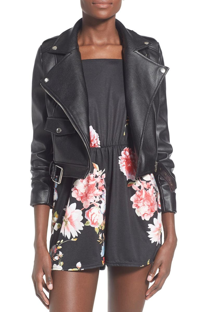 MISSGUIDED 'Zazula' Faux Leather Moto Jacket, Main, color, 001