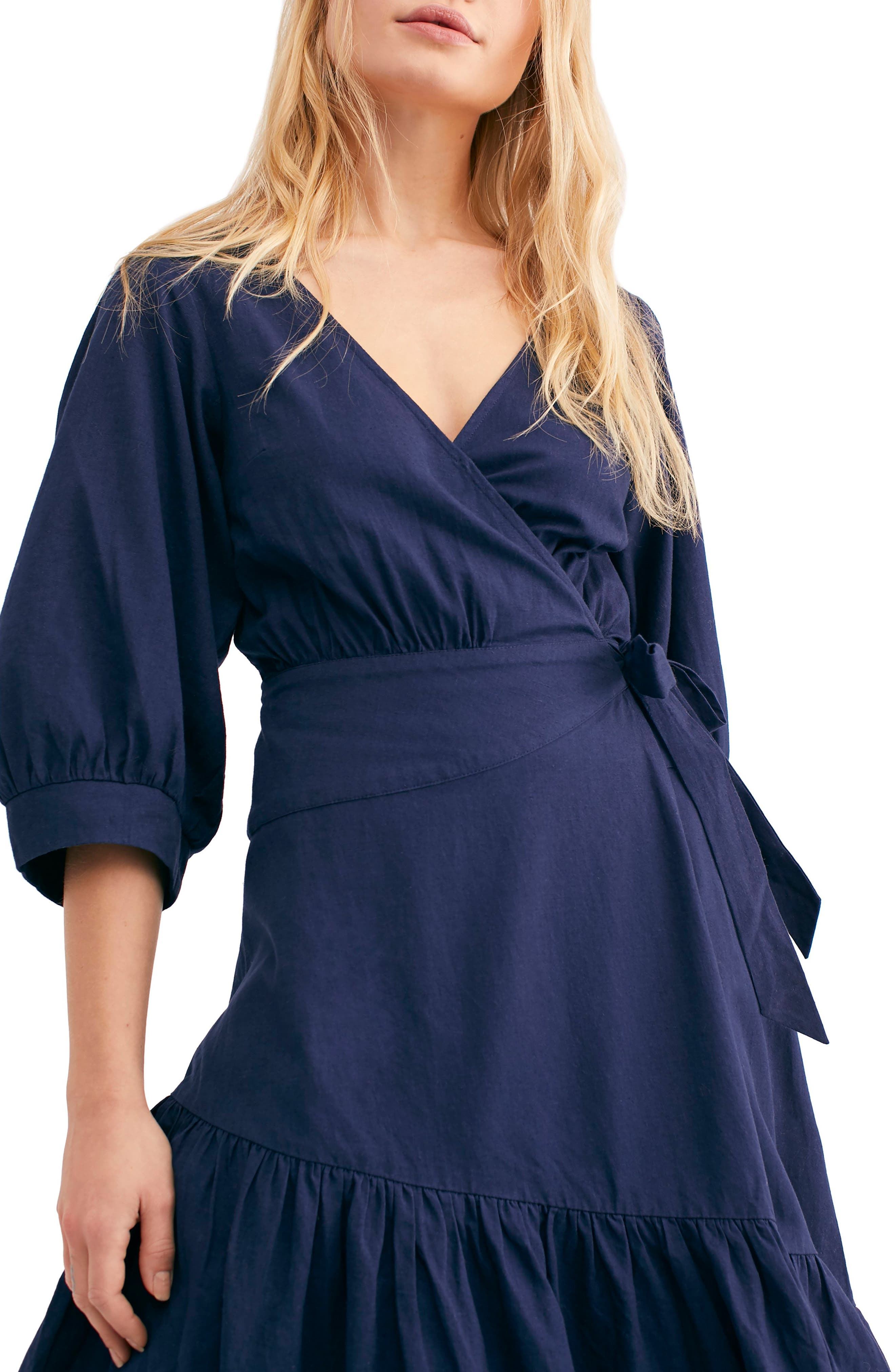 ,                             Endless Summer by Free People Don't Mind If I Do Midi Dress,                             Alternate thumbnail 4, color,                             DARK BLUE