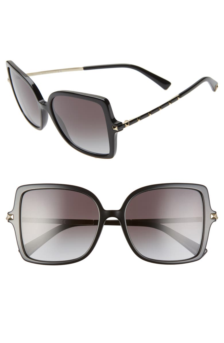 VALENTINO 56mm Rockstud Butterfly Sunglasses, Main, color, 001