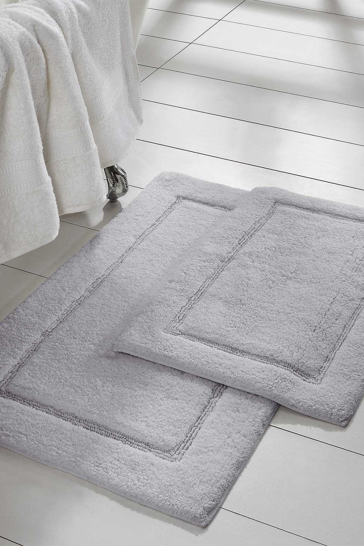 Image of Modern Threads Silver Solid Loop Non-Slip Bath Mat 2-Piece Set