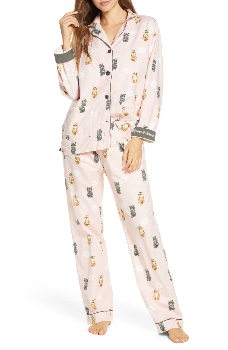 PJ SALVAGE Print Flannel Pajamas, Main, color, BLUSH
