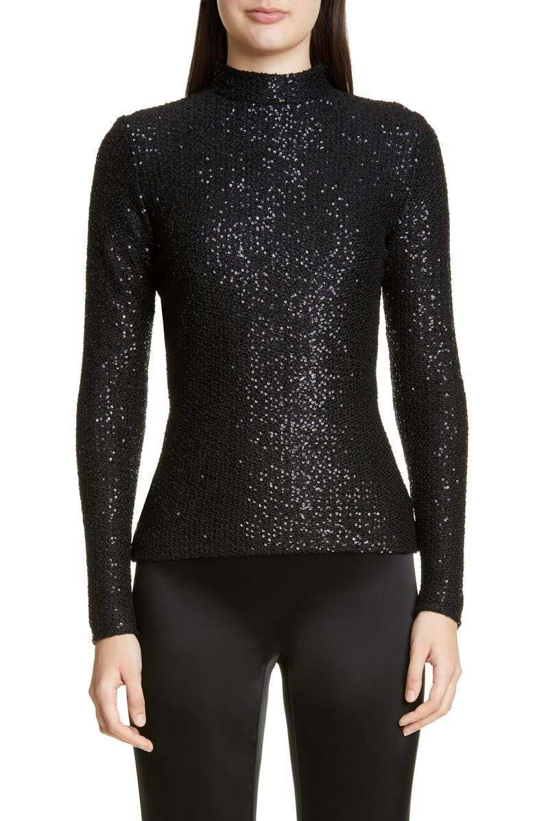 ST. JOHN COLLECTION Statement Sequin Knit Mock Neck Top, Main, color, CAVIAR