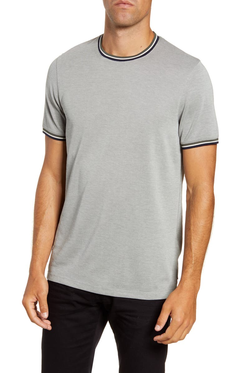 TED BAKER LONDON Slim Fit Stripe Soft Touch T-Shirt, Main, color, KHAKI