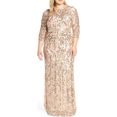 Plus Size MAC Duggal Beaded Evening Dress, Pink