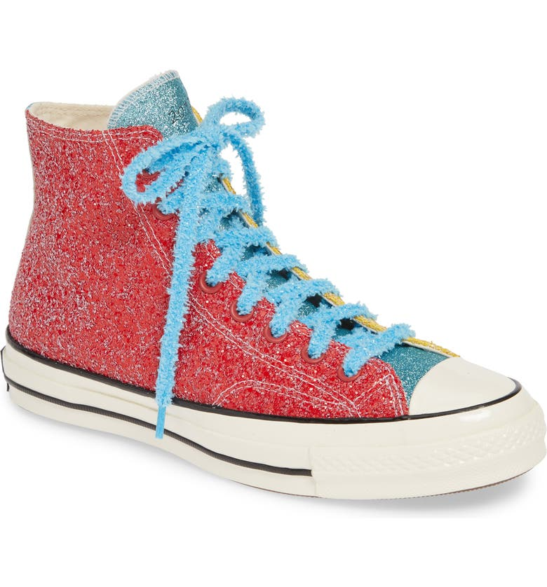 CONVERSE x JW Anderson Chuck Taylor<sup>®</sup> All Star<sup>®</sup> 70 High Top Sneaker, Main, color, BARBADOS CHERRY/ SULPHUR