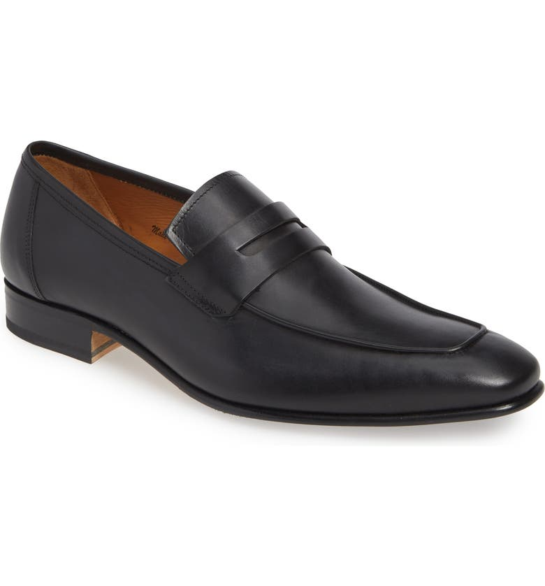 MEZLAN Gerini Penny Loafer, Main, color, BLACK LEATHER