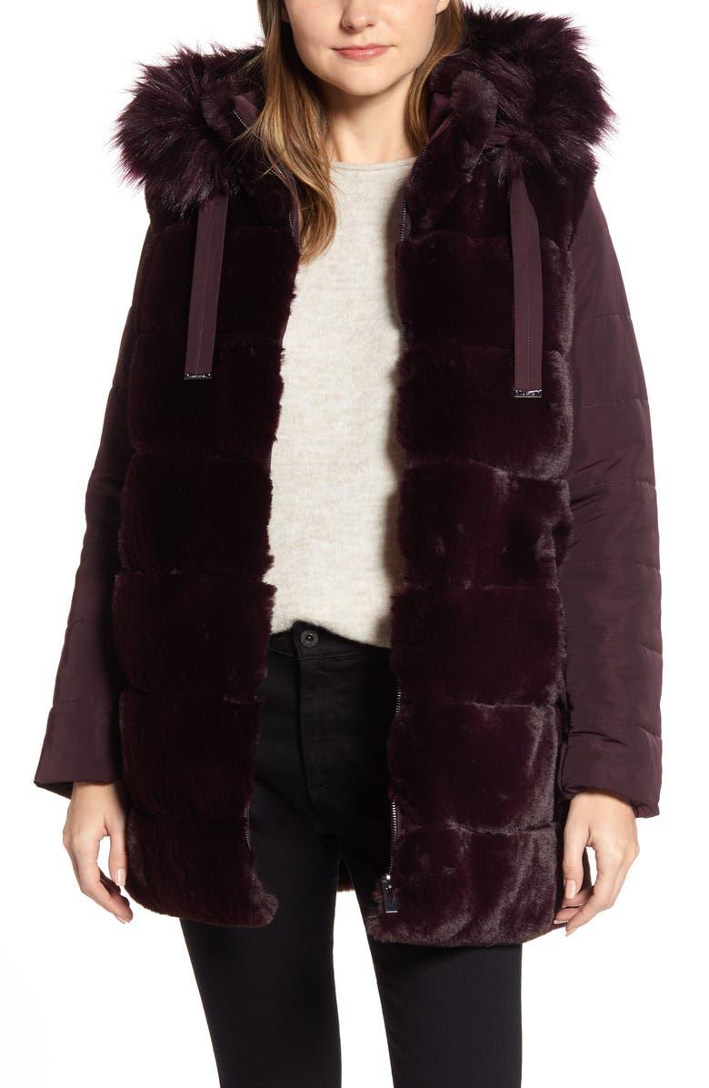 VIA SPIGA Faux Fur Hooded Puffer Jacket, Main, color, BURGUNDY
